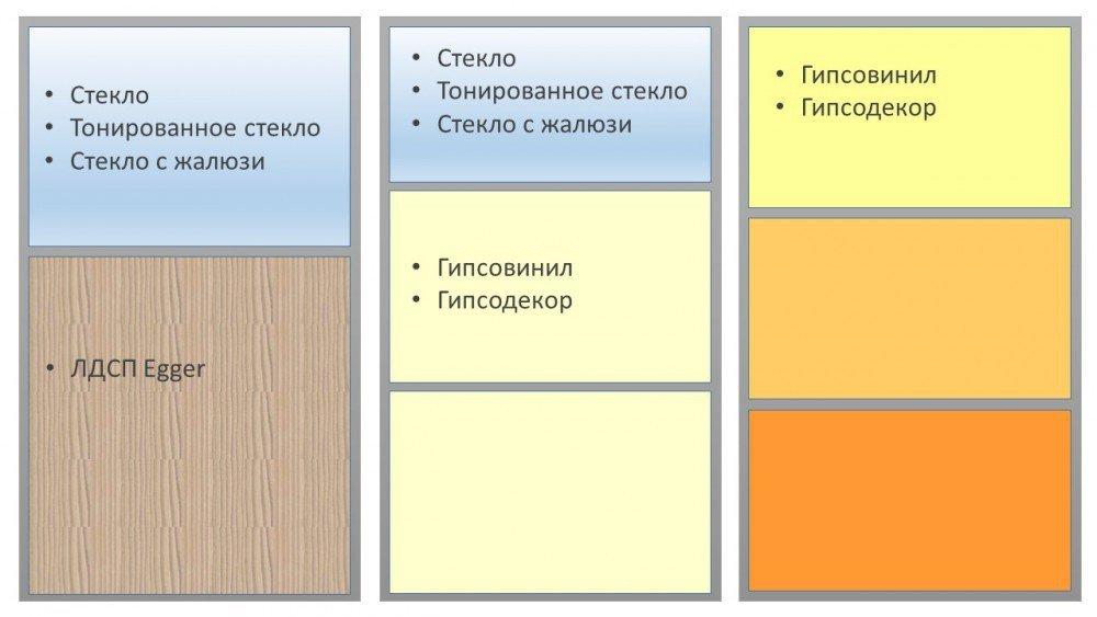 Комбинированные перегородки - примеры комбинаций