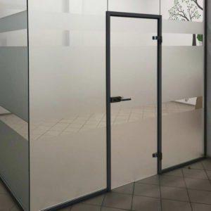 цельностеклянная дверь в алюминиевой коробке